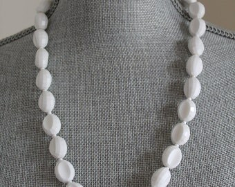 Vintage White Plastic Bead Necklace, Made in West Germany, 24 Inches