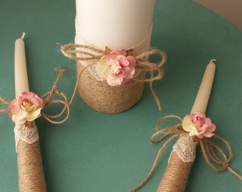 Unity Candle Set Rose  Wedding Candle Set Rose Wedding Unity, Church ceremony set