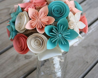 Fall Wedding Bouquet - Coral Bridal Bouquet - Fall Bouquet - Rustic Wedding Bouquet - Alternative Bouquet - Kusudama Bouquet - Paper Flower