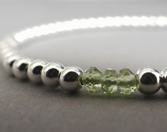 Peridot and Sterling Silver Bracelet, Birthstone Bracelet, August Birthstone, Customisable Bracelet, Bridesmaid Bracelet, Gift for Her