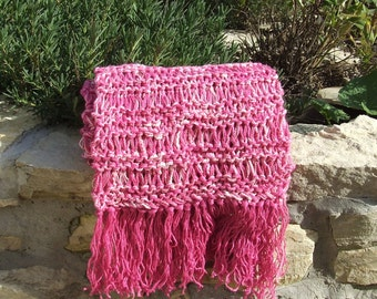 Handknitted scarf - Knit cotton scarf - Drop stitch scarf - Fringed scarf - Boho scarf - Ladies drop stitch long scarf in bright pink cotton