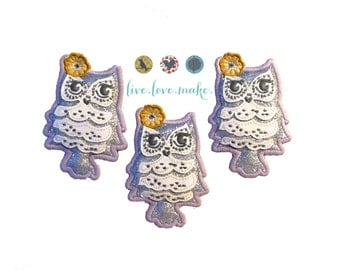 Large Padded Owl-Flower-Applique-Patch-DIY-Fabric Applique-Woodland-Grey-Gray-Silver-Glitter-Hair Supplies-Embellishment-Supply Shop