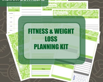 Fitness and Weight Loss Planning Kit - Printable PDF Fitness and Weight Loss Planning and Management Sheets - Instant Download