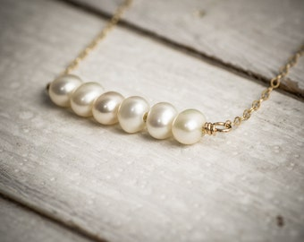 Pearl necklace, wedding necklace, bridal necklace, bridesmaid gift, pearl bar necklace, dainty necklace, simple necklace, gift under 50.