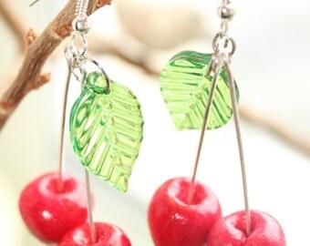Cherry Earrings Red Summer Fruit Earring Bright Berry Garden Jewelry Girl Cherries Bijoux Unusual Polymer Clay Food Jewellery Sister Gift