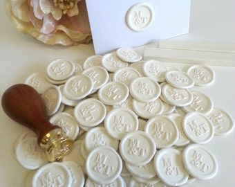 Personalised wax seal stickers - self adhesive premade designer White Ivory (Handmade in Australia) Pure Invites