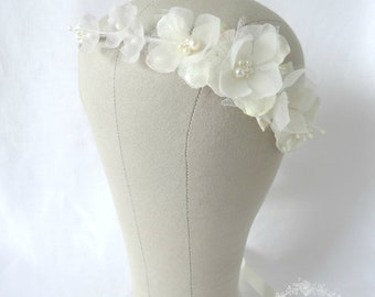 Silk & Tulle Blossom Flower Crown, Ivory Bridal Headpiece
