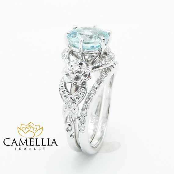 Unique Aquamarine Engagement Ring Set 14K White Gold 2 Carat