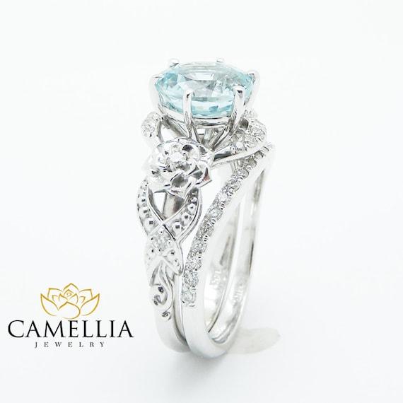 unique aquamarine engagement ring set 14k white gold 2 carat