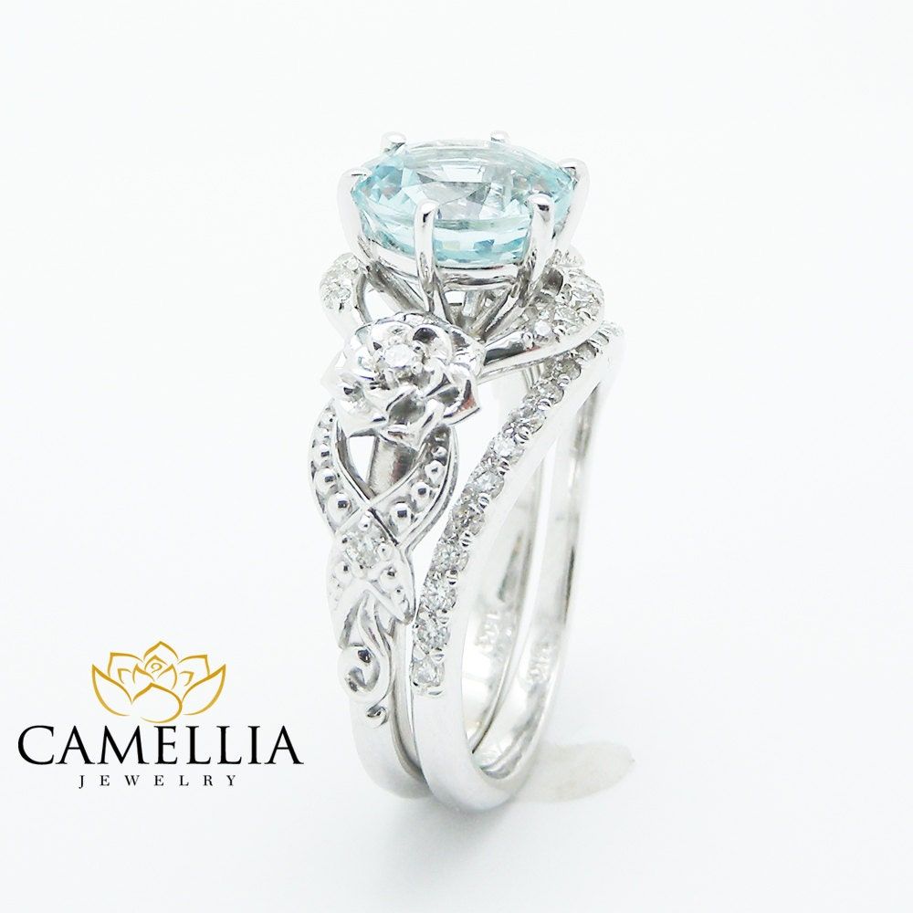 unique aquamarine engagement ring set 14k white gold 2 carat. Black Bedroom Furniture Sets. Home Design Ideas