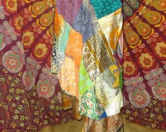 Patchwork Silk Wrap Skirt, Silk Blend Skirt, Wrap Skirt, Layered Skirt, Boho Fashion, Boho Skirt, Long Silk Skirt - ONE SIZE -  Multi-colors