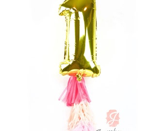 "CLOSEOUT SALE Large 30"" Gold Number 1 Balloon Air ONLY,  First Birthday Balloon, Gold Balloon 1st Birthday Number One Balloon First Birthday"