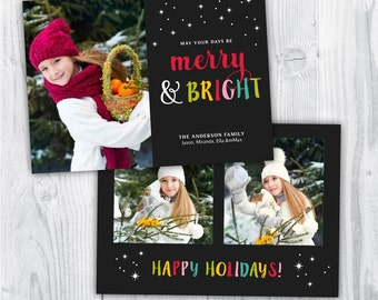 christmas photo template / christmas card photo / christmas photo card / merry christmas template / photo template photographers / BRIGHT