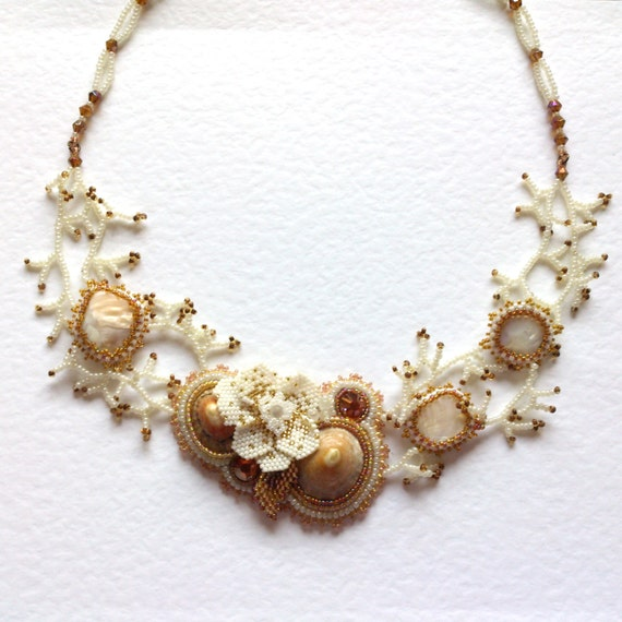 Make Your Own Seashell Jewelry: Statement Bridal Necklace Wedding Necklace By