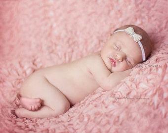 Pearl Bow Headband, Pearl Bow, Pearl Bow Baby, Mini Bow Headband, New Baby Girl Gift, Newborn Photo Prop, New Baby Girl, Ivory Bow Headband