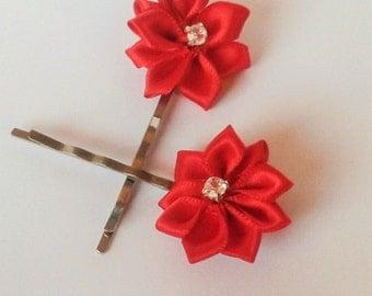 Ribbon Hair Grips, Flower Bobby Pins, Red Satin Hair Pins, Wedding Pins, Flowergirl Hairpins, Flower hair slide, Bridesmaid Hairpins