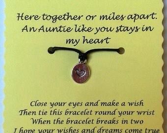 Auntie Wish Bracelet, Cord Wish Bracelet, Keepsake Card, Auntie gift, String Wish Bracelet, Charm bracelet, Auntie card, Quote Jewelry Gift