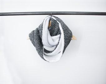 Chunky Knit Scarf Grey / Circle Infinity Scarf Wool