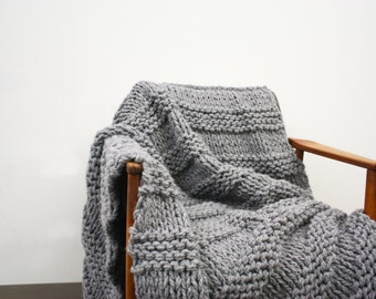 Chunky Knit Wool Blanket Throw Thick & Large - LIGHT GREY