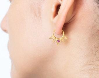 Gold cartilage hoops. small hoop earrings. cartilage hoop. gold cartilage ring. cz hoop earrings. huggie hoops. minimal earrings. helix