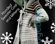 Crochet Cardigan Pattern Vintage 70s Crochet Hooded Jacket Pattern Crochet Sweater Pattern Cochet Pattern Crochet Mittens Pattern Gloves