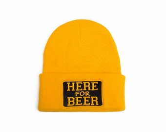 Hear for Beer Hat Embroidered Beanie