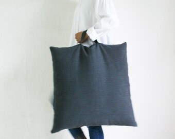 Large Linen Floor Cushion,Charcoal