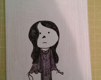 "ATC ""The Raven Girl"" ACEO Artist Trading Card- Halloween"