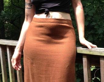 """Vintage 1940's 50's Pencil Wiggle Skirt Linen Caramel Brown Rust Rockabilly M Waist 30"""""""
