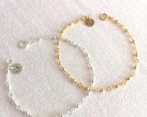 Silver Beads Bracelet, Gold Beads Bracelet, Personalized Disc Bracelet, 14K Gold Filled, Sterling Silver,Bridesmaid Bracelet,Dainty Bracelet