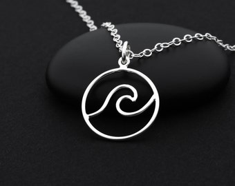 Silver Wave Necklace, Ocean Wave Necklace, Sterling Silver, Beach Jewelry, Surfer Girl Jewelry, Surfer Necklace, Ocean Necklace, Wave Charm
