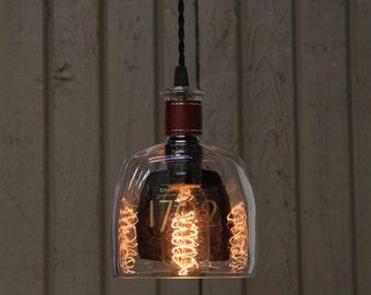 1792 Barton Bottle Pendant Light - Upcycled Industrial Glass Ceiling Light - Handmade Bourbon Bottle Light Fixture, Recycled Lighting