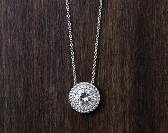1.42 ct.tw Round Double Halo Pendant Necklace-Brilliant Cut Diamond Simulant-Bridesmaid Gift Necklace-Solid Sterling Silver [6554]