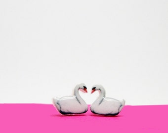 Swan Stud Earrings Swan Earrings Swan Studs Swan Jewellery