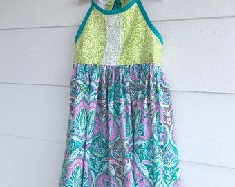 Tangy Kiwi Dress with Lace Straps