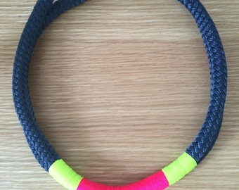 Nautical Rope Necklace with Large Metal Hardware Clasp in Navy with Neon Pink. Handmade in the U.K