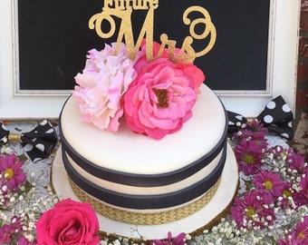Bridal Shower Cake Topper, Future Mrs Cake Topper, Gold Bridal Shower Cake Topper, Gold Future Mrs, Gold Cake Topper, Bridal Shower Cake