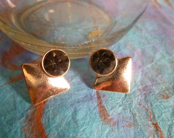 Gold Triangle With A Smokey Circle Post Earrings