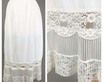 Cream, Vintage Lace Slip // Lingerie, White, Knee length, Women's size Small/Medium