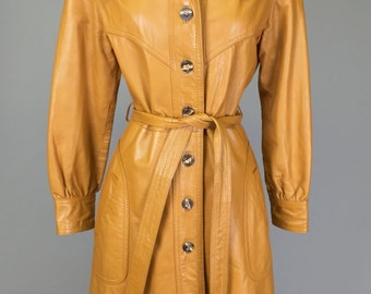 Sale! Vintage 70s, Tan Leather, Trench // 1970s Coat, Boho Outerwear, Women Size Small