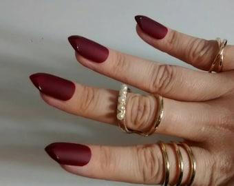 Burgundy Red Matte Fake Nail - glossy tip - stiletto false nails - Matte finish press on nails - nail set made to order - Maroon - Nail Art