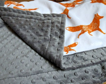 Fox Baby Blanket - Pouncing Fox - Designer Minky - Charcoal