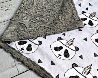 Minky Panda Baby Blanket - Panda with Feather Designer Minky - Charcoal Paisley