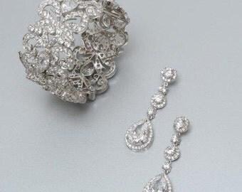 Bridal Jewelry Set, Wedding Earrings, Statement Bracelet, Wedding Jewelry Set, Deepa Bridal Jewelry Set