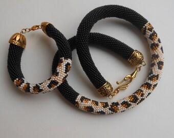 Leopard necklace Crochet necklace Beaded crochet Cords necklace Black necklace Short necklace Jewelry beaded Jewelry necklace Jewelry gift