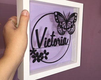 Personalised Name Paper Cut-Out Framed art with Flower and Butterfly detail