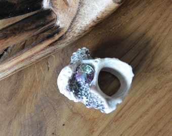 Shell ring with Swarovskikristall