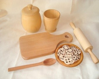 Baking set for kids. Wooden baking set.  Wooden toys.