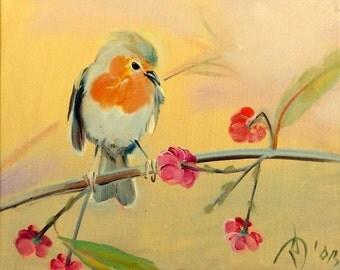 Bird on a branch Oil painting on canvas Little bird
