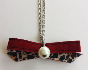 Red suede bow Pendant Necklace